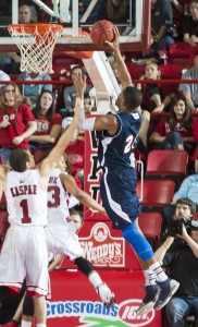 Senior forward Jordan McCoy finishes strong at the basket. Photo by Western Kentucky University Media Relations.
