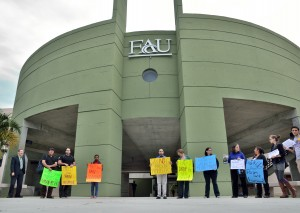 Students gather for a protest against GEO Group's stadium naming rights in front of the Social Science building on March 1. Photo by Ryan Murphy
