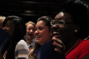 Students listen to comedian Maria Falzone describe her first sexual experience. Photo by Daniel Cardenas.