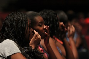 Comedian Maria Falzone tells the students a nose feels like a cervix. Photo by Daniel Cardenas.
