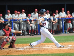 Designated hitter Brendon Sanger picked up two RBI's in the win against Alabama to finish the seriers.  Photo by Michelle Friswell.