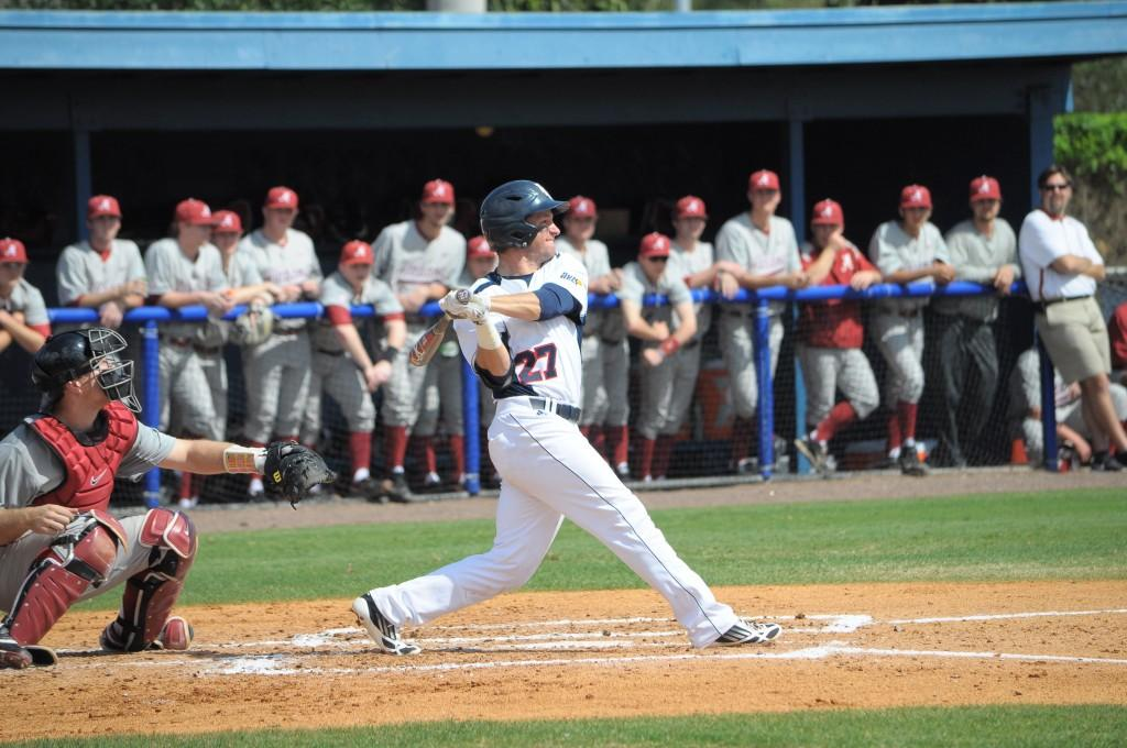Outfielder Nathan Rittman leads the team with nine runs this season. The Owls return home to play Toledo on Friday, March 8, at 6:30 p.m. Photo by Michelle Friswell