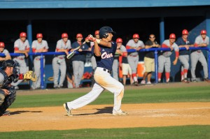 Mitch Morales leads all FAU starters with a .354 batting average, eighth among Sun Belt Conference hitters. Photo by Michelle Friswell