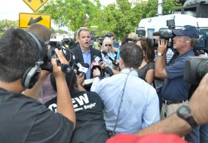 FAU Police Chief Charles Lowe adresses the media at a press conference regarding the shooting of a homeless man on the roof of the Pace Americas building at Inovation Centre Friday morning. Photo by Michelle Friswell.