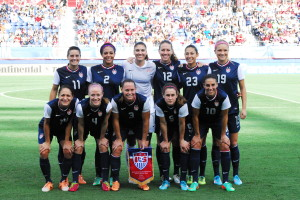 The starters for the US Women's National Soccer team. The US is now 6-0-1 all time versus Russia. Photo by Max Jackson