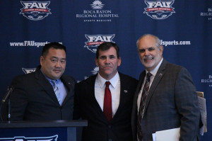 Athletic Director Patrick Chun (left) stands with  Charlie Partridge (middle) and Interim President  Dennis Crudele (right) at Tuesday's Press Conference. Photo by Tico Baez