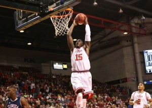 Brandon Peterson finishes strong on a fast break. Photo courtesy of Arkansas State Media Relations.