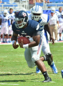 Owls quarterback Jaquez Johnson (seen here at the Sept. 21 game against MTSU) scored FAU's only touchdown at Auburn during the first half. FAU lost to the Tigers 45-10 Saturday night. Photo by Michelle Friswell.