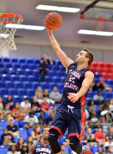 Owls guard Pablo Bertone scores early in the first half of Friday night's 86-51 win over Ave Maria University. Photo by Ryan Murphy.