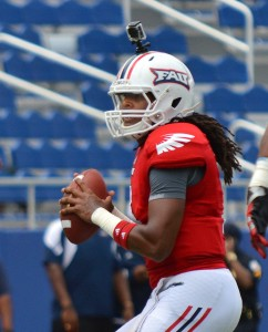 """After being ruled academically ineligible for the 2012 season, FAU quarterback Melvin German was given the """"all clear"""" for 2013 by head coach Carl Pelini. Photo by Ryan Murphy."""