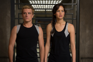 Katniss Everdeen (Jennifer Lawrence) and Peeta Mellark (Josh Hutcherson) in The Hunger Games: Catching Fire. Photo by Murray Close/Lionsgate